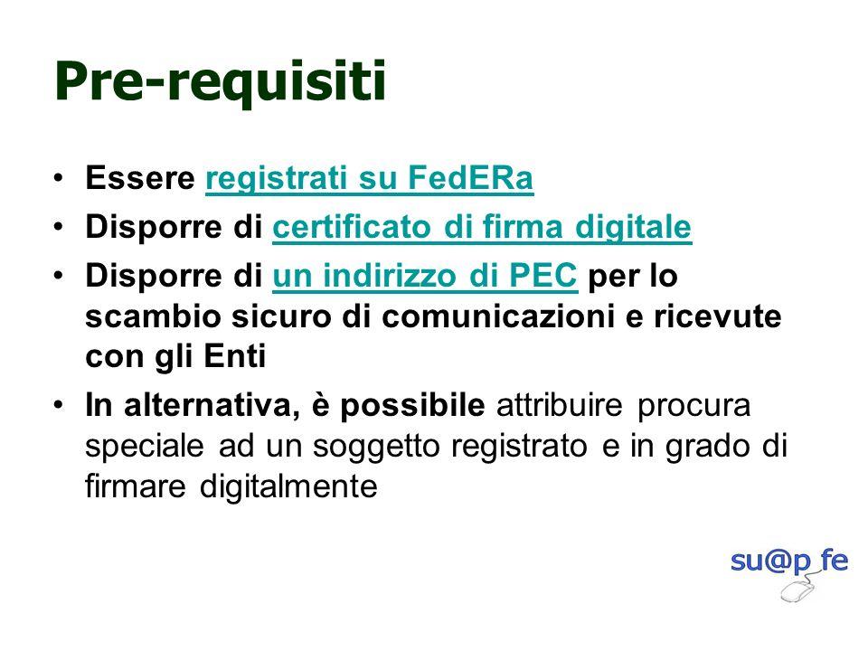 Pre-requisiti Essere registrati su FedERaregistrati su FedERa Disporre di certificato di firma digitalecertificato di firma digitale Disporre di un in