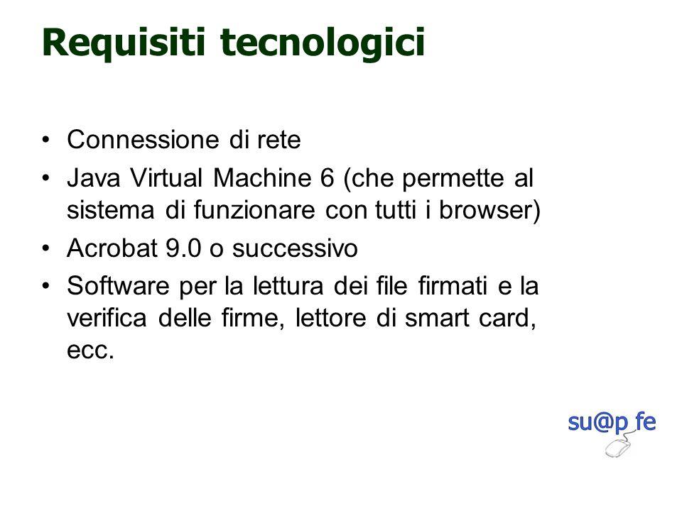 Requisiti tecnologici Connessione di rete Java Virtual Machine 6 (che permette al sistema di funzionare con tutti i browser) Acrobat 9.0 o successivo