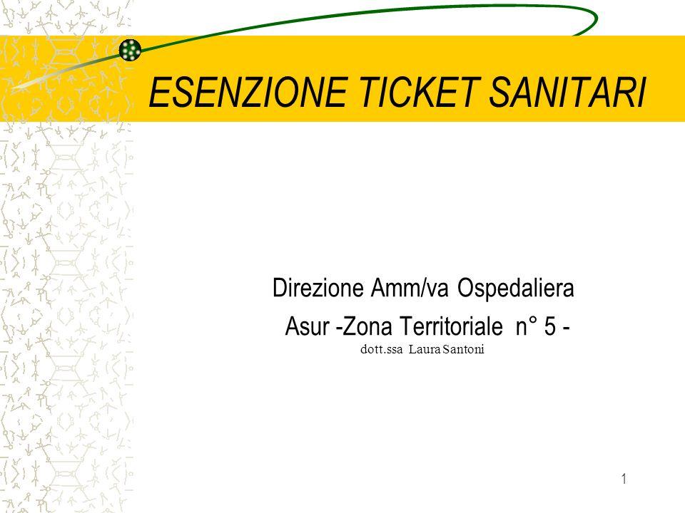 1 ESENZIONE TICKET SANITARI Direzione Amm/va Ospedaliera Asur -Zona Territoriale n° 5 - dott.ssa Laura Santoni