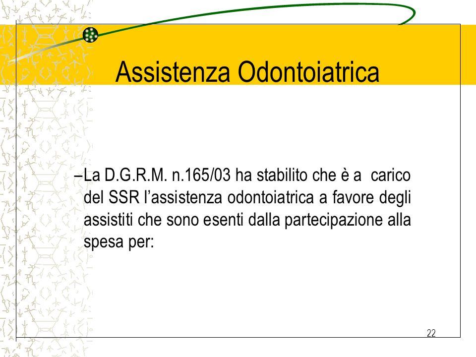 22 Assistenza Odontoiatrica –La D.G.R.M. n.165/03 ha stabilito che è a carico del SSR lassistenza odontoiatrica a favore degli assistiti che sono esen