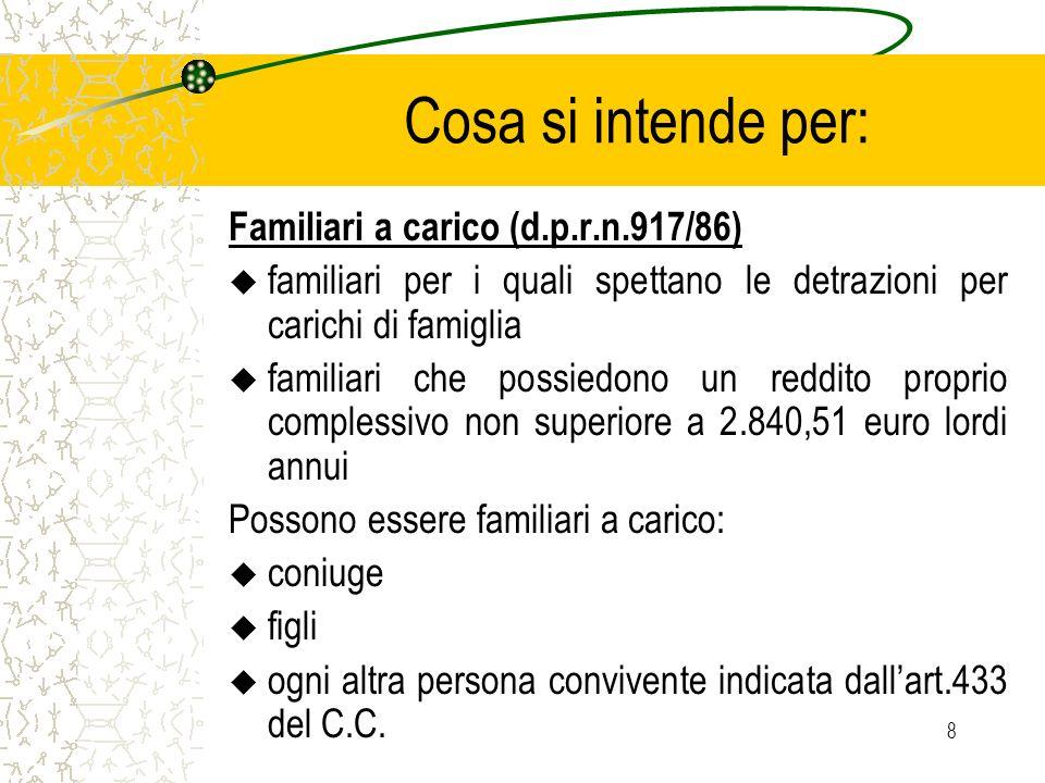8 Cosa si intende per: Familiari a carico (d.p.r.n.917/86) u familiari per i quali spettano le detrazioni per carichi di famiglia u familiari che poss