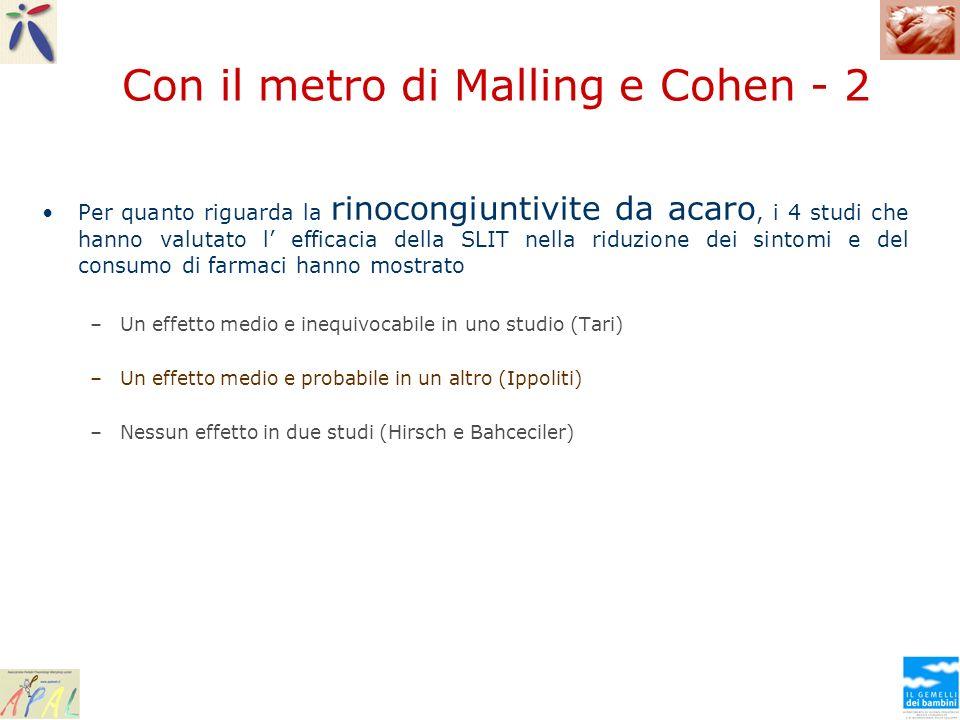 Con il metro di Malling e Cohen - 2 Per quanto riguarda la rinocongiuntivite da acaro, i 4 studi che hanno valutato l efficacia della SLIT nella riduz