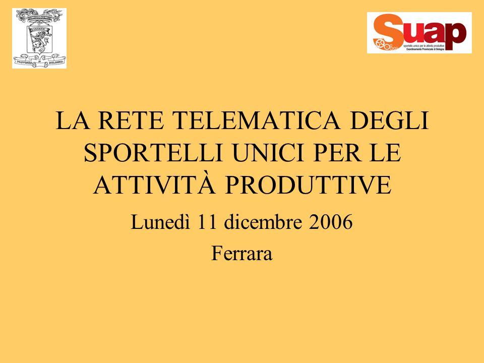 LA RETE TELEMATICA DEGLI SPORTELLI UNICI PER LE ATTIVITÀ PRODUTTIVE Lunedì 11 dicembre 2006 Ferrara