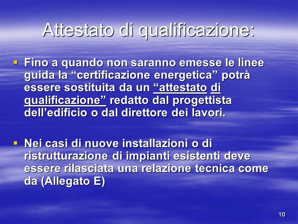 10 Attestato di qualificazione: Fino a quando non saranno emesse le linee guida la certificazione energetica potrà essere sostituita da un attestato di qualificazione redatto dal progettista delledificio o dal direttore dei lavori.