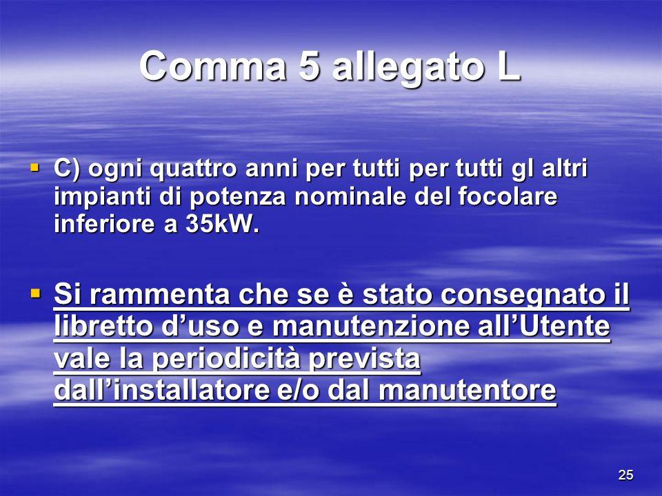25 Comma 5 allegato L C) ogni quattro anni per tutti per tutti gl altri impianti di potenza nominale del focolare inferiore a 35kW.