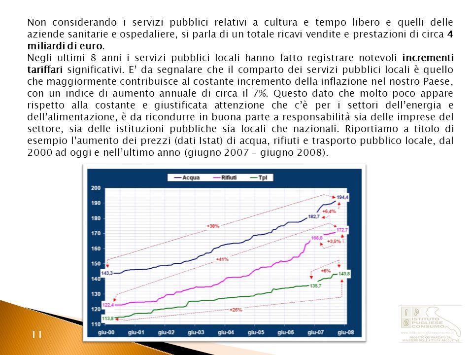 11 Non considerando i servizi pubblici relativi a cultura e tempo libero e quelli delle aziende sanitarie e ospedaliere, si parla di un totale ricavi vendite e prestazioni di circa 4 miliardi di euro.