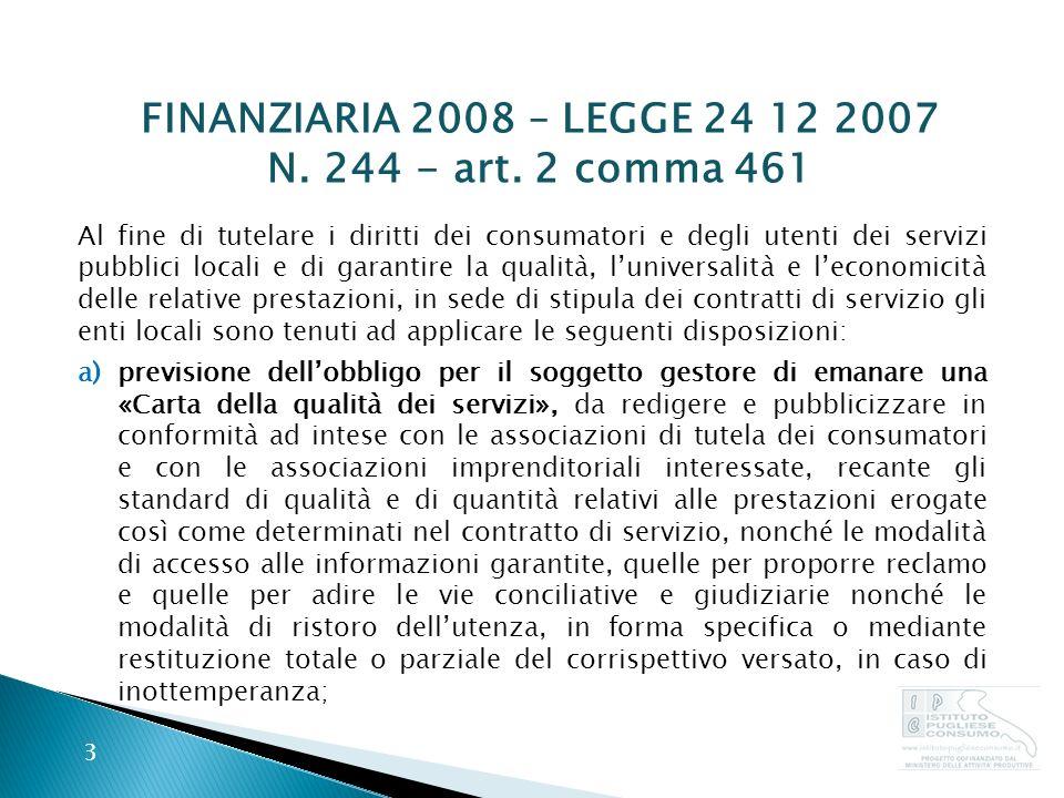 FINANZIARIA 2008 – LEGGE 24 12 2007 N.244 - art.