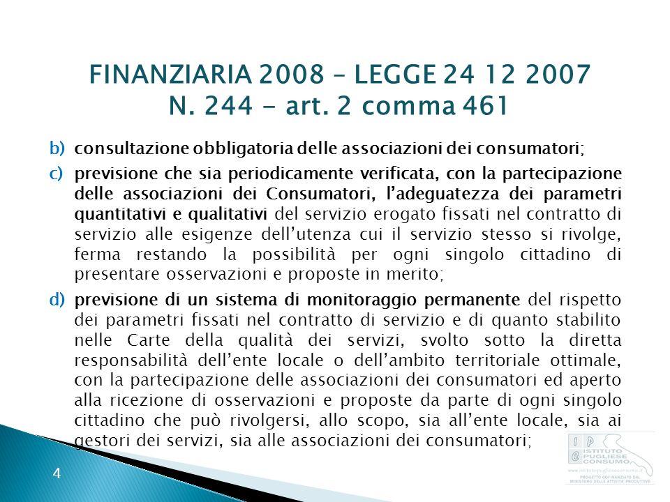 FINANZIARIA 2008 – LEGGE 24 12 2007 N. 244 - art.