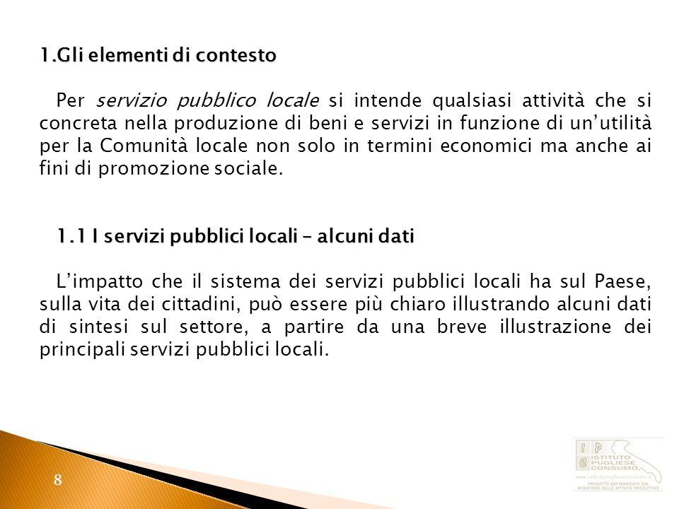 8 1.Gli elementi di contesto Per servizio pubblico locale si intende qualsiasi attività che si concreta nella produzione di beni e servizi in funzione di unutilità per la Comunità locale non solo in termini economici ma anche ai fini di promozione sociale.