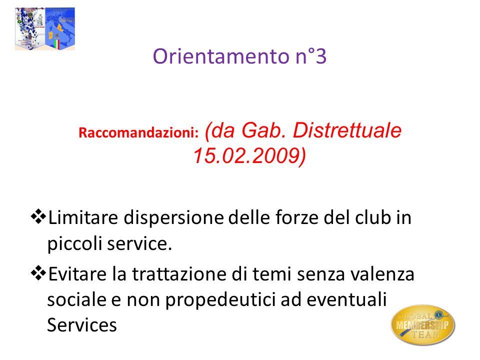 Orientamento n°3 Raccomandazioni: (da Gab. Distrettuale 15.02.2009) Limitare dispersione delle forze del club in piccoli service. Evitare la trattazio