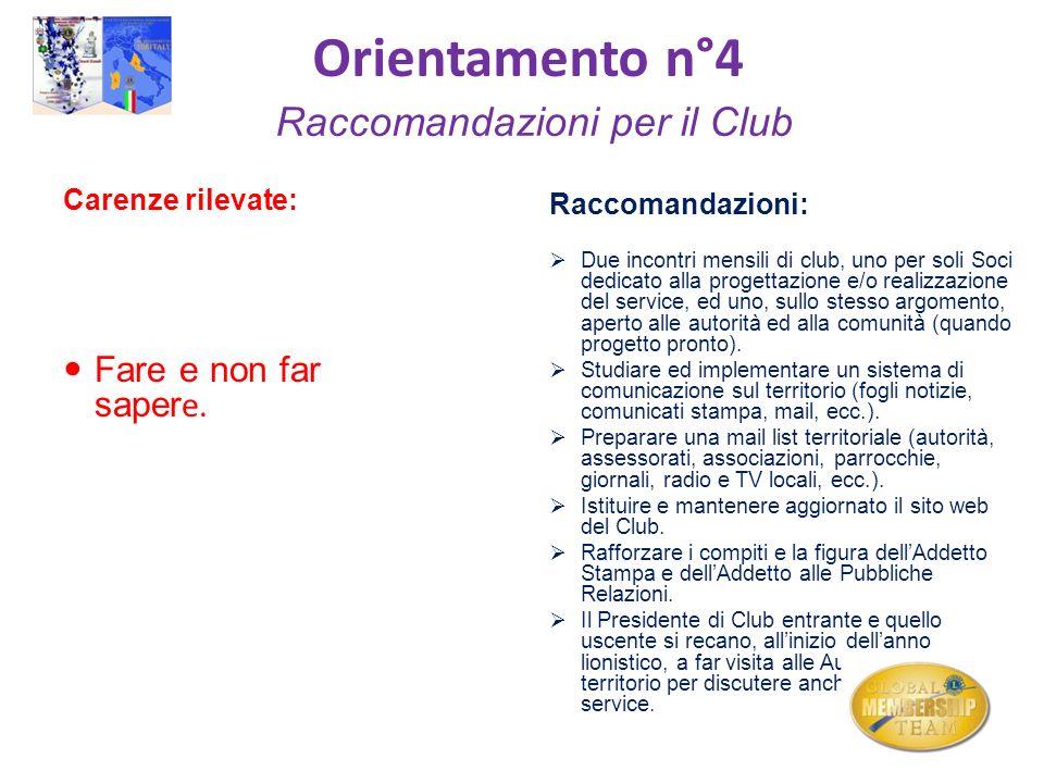 Orientamento n°4 Raccomandazioni per il Club Carenze rilevate: Fare e non far saper e. Raccomandazioni: Due incontri mensili di club, uno per soli Soc