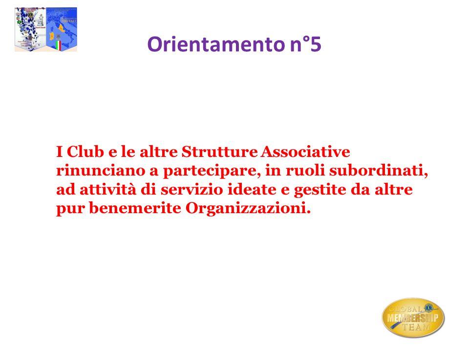 Orientamento n°5 I Club e le altre Strutture Associative rinunciano a partecipare, in ruoli subordinati, ad attività di servizio ideate e gestite da a