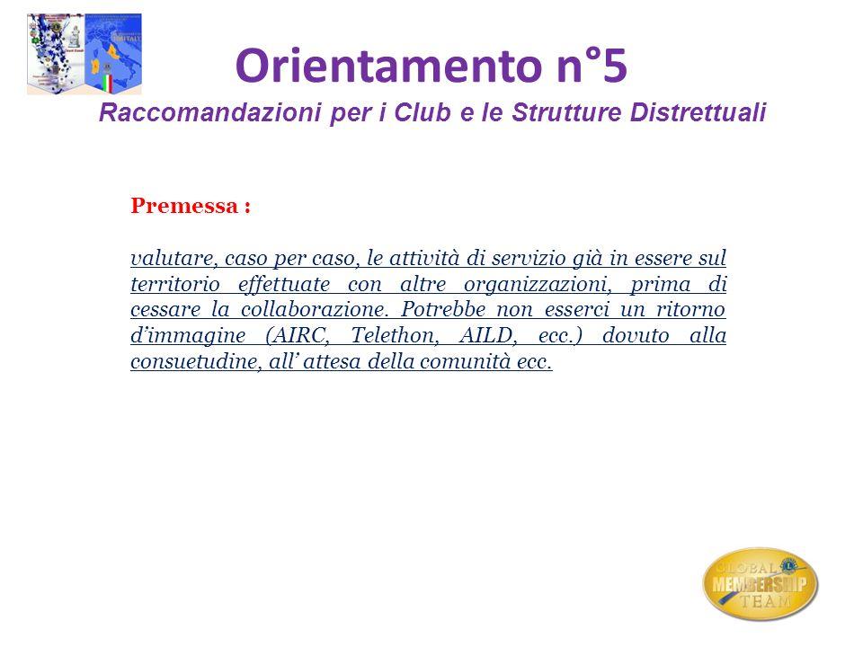 Orientamento n°5 Raccomandazioni per i Club e le Strutture Distrettuali Premessa : valutare, caso per caso, le attività di servizio già in essere sul