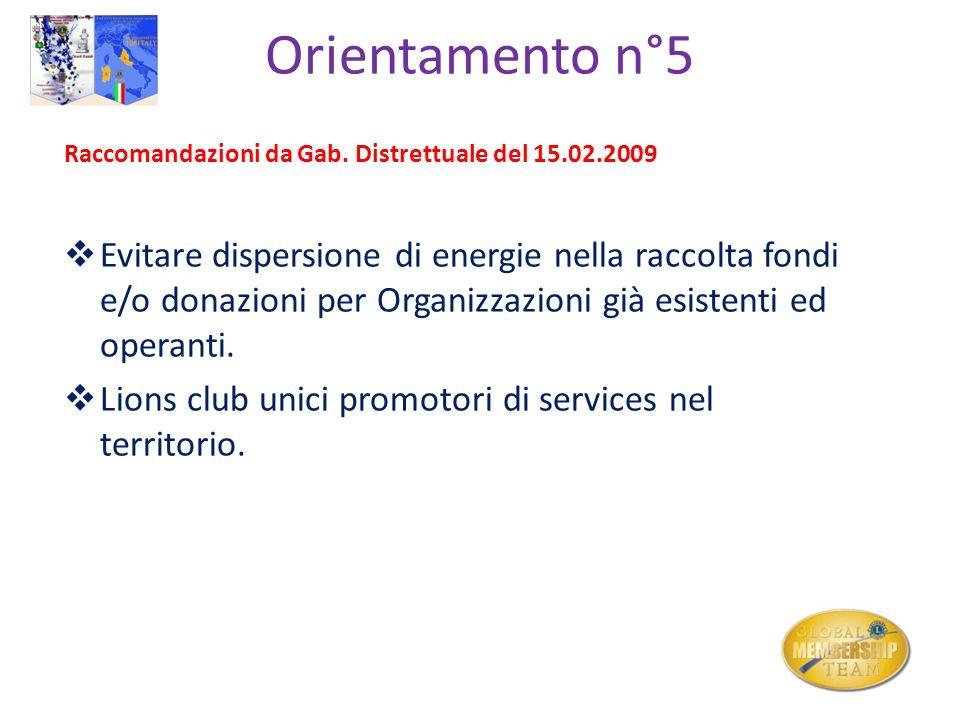 Orientamento n°5 Raccomandazioni da Gab. Distrettuale del 15.02.2009 Evitare dispersione di energie nella raccolta fondi e/o donazioni per Organizzazi