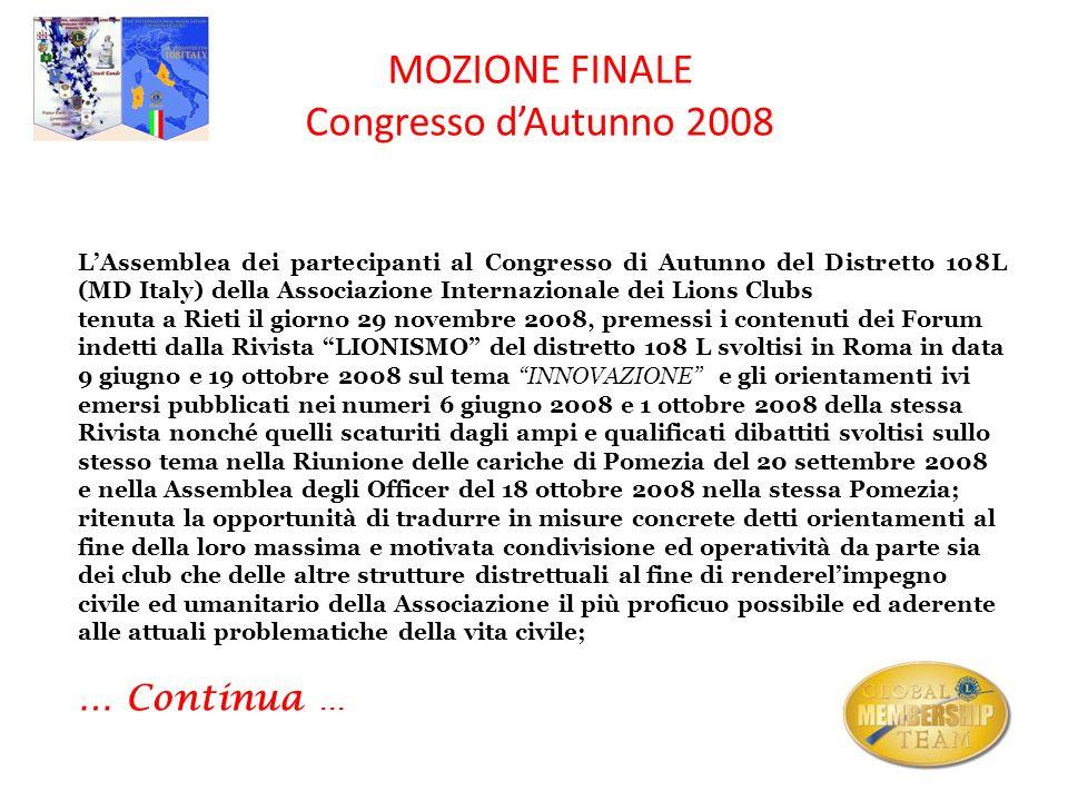 MOZIONE FINALE Congresso dAutunno 2008 LAssemblea dei partecipanti al Congresso di Autunno del Distretto 108L (MD Italy) della Associazione Internazio