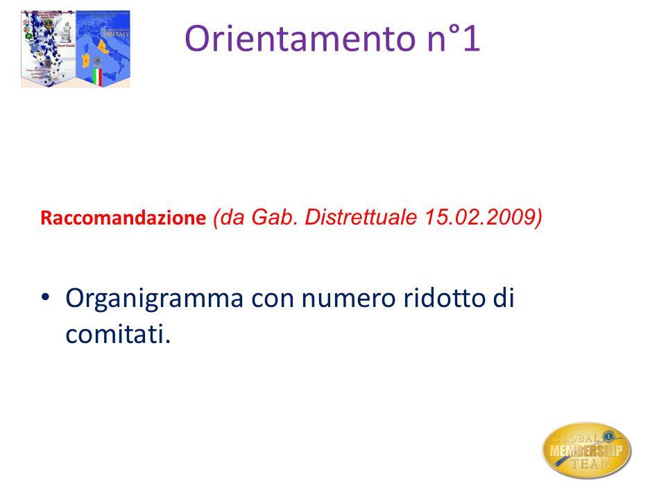 Orientamento n°1 Raccomandazione (da Gab. Distrettuale 15.02.2009) Organigramma con numero ridotto di comitati.