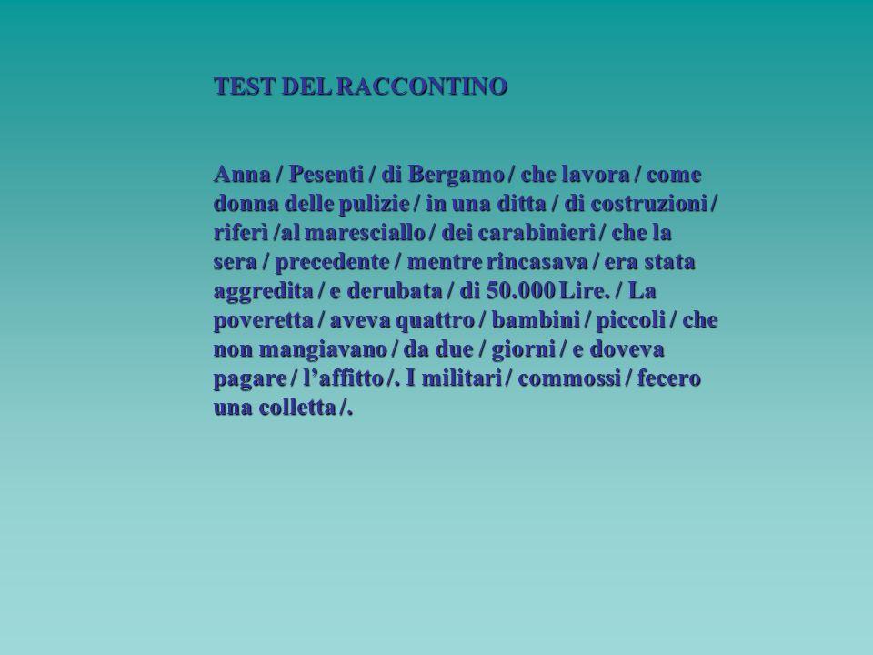 TEST DEL RACCONTINO Anna / Pesenti / di Bergamo / che lavora / come donna delle pulizie / in una ditta / di costruzioni / riferì /al maresciallo / dei
