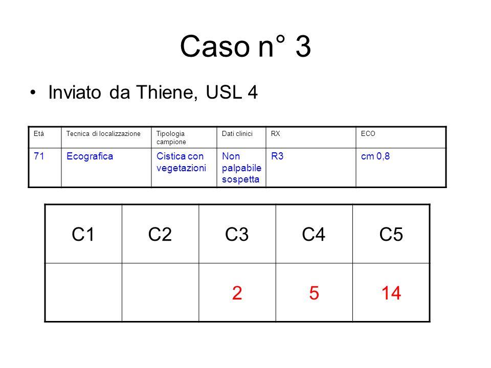 Caso n° 3 Inviato da Thiene, USL 4 C1C2C3C4C5 2514 EtàTecnica di localizzazioneTipologia campione Dati cliniciRXECO 71EcograficaCistica con vegetazioni Non palpabile sospetta R3cm 0,8