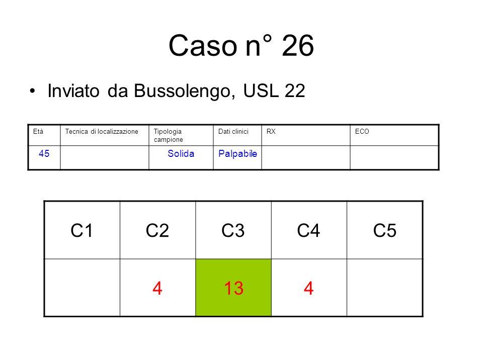 Caso n° 26 Inviato da Bussolengo, USL 22 C1C2C3C4C5 4134 EtàTecnica di localizzazioneTipologia campione Dati cliniciRXECO 45SolidaPalpabile