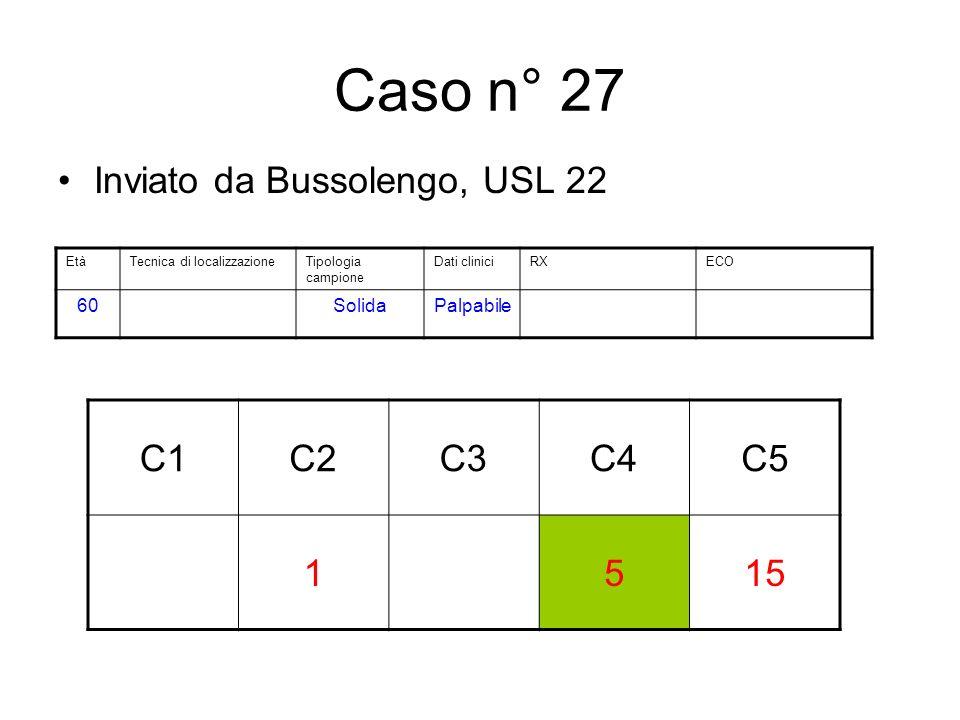 Caso n° 27 Inviato da Bussolengo, USL 22 C1C2C3C4C5 1515 EtàTecnica di localizzazioneTipologia campione Dati cliniciRXECO 60SolidaPalpabile