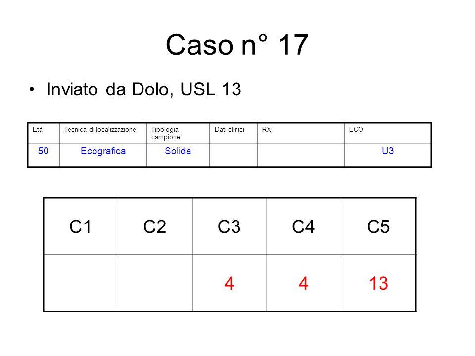 Caso n° 17 Inviato da Dolo, USL 13 C1C2C3C4C5 4413 EtàTecnica di localizzazioneTipologia campione Dati cliniciRXECO 50EcograficaSolidaU3