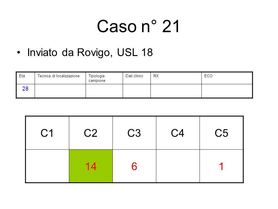 Caso n° 21 Inviato da Rovigo, USL 18 C1C2C3C4C5 1461 EtàTecnica di localizzazioneTipologia campione Dati cliniciRXECO 28