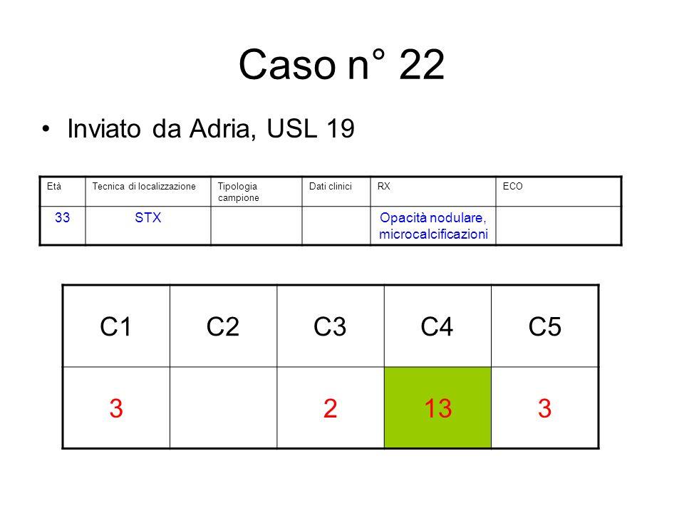 Caso n° 22 Inviato da Adria, USL 19 C1C2C3C4C5 32133 EtàTecnica di localizzazioneTipologia campione Dati cliniciRXECO 33STXOpacità nodulare, microcalcificazioni