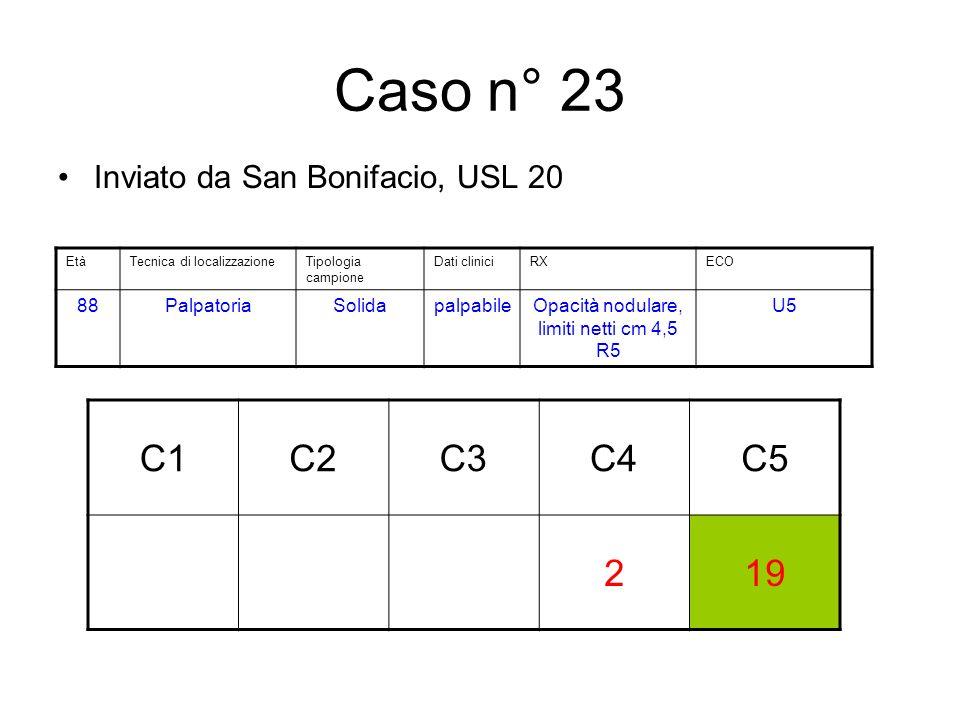 Caso n° 23 Inviato da San Bonifacio, USL 20 C1C2C3C4C5 219 EtàTecnica di localizzazioneTipologia campione Dati cliniciRXECO 88PalpatoriaSolidapalpabileOpacità nodulare, limiti netti cm 4,5 R5 U5