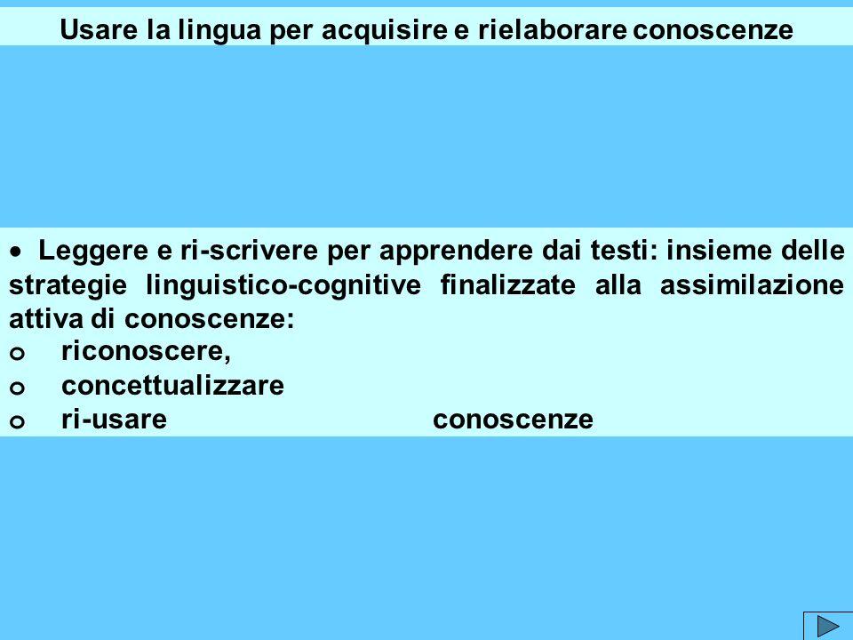 Usare la lingua per acquisire e rielaborare conoscenze Leggere e ri-scrivere per apprendere dai testi: insieme delle strategie linguistico-cognitive f
