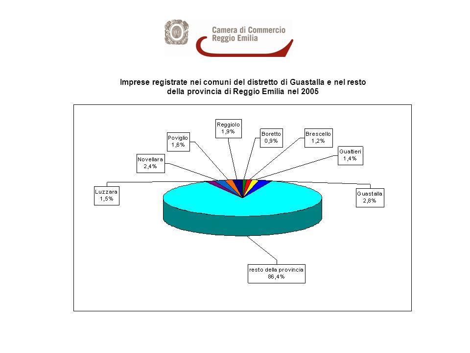 Imprese registrate nei comuni del distretto di Guastalla e nel resto della provincia di Reggio Emilia nel 2005