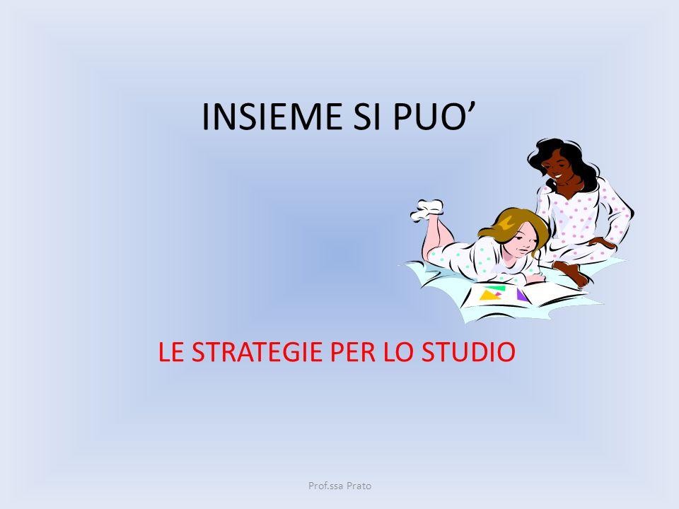INSIEME SI PUO LE STRATEGIE PER LO STUDIO Prof.ssa Prato