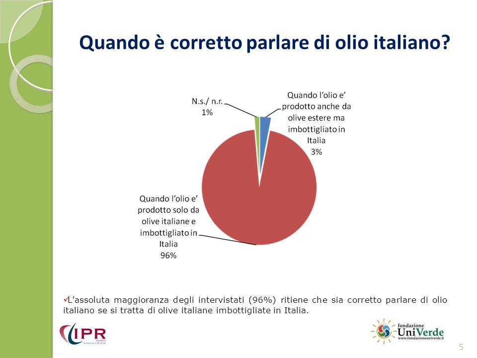 Si parla di olio italiano anche per oli solo imbottigliati in Italia.