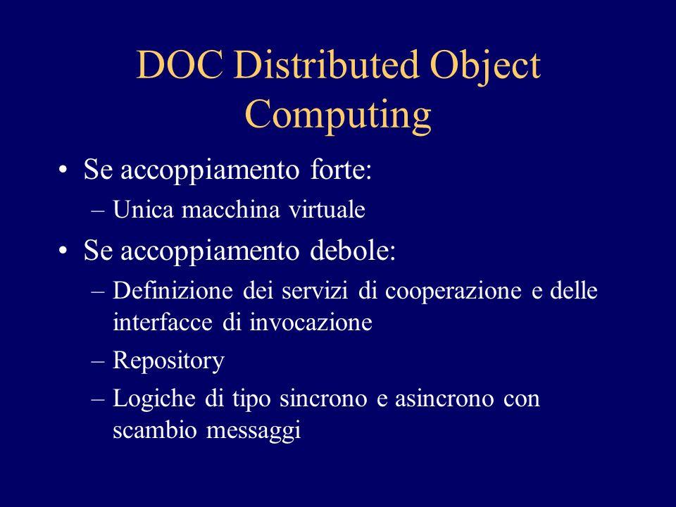 DOC Distributed Object Computing Se accoppiamento forte: –Unica macchina virtuale Se accoppiamento debole: –Definizione dei servizi di cooperazione e