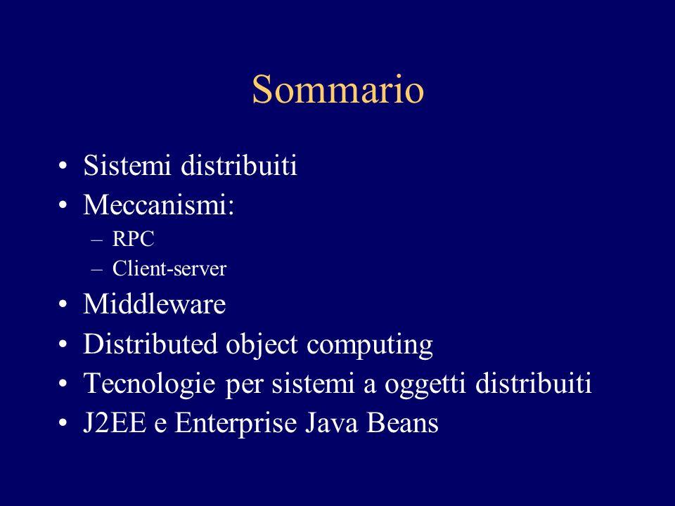 Sommario Sistemi distribuiti Meccanismi: –RPC –Client-server Middleware Distributed object computing Tecnologie per sistemi a oggetti distribuiti J2EE