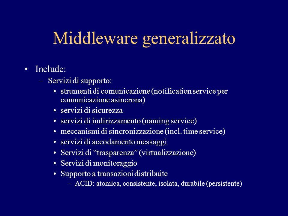 Middleware generalizzato Include: –Servizi di supporto: strumenti di comunicazione (notification service per comunicazione asincrona) servizi di sicur