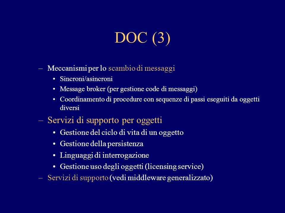 DOC (3) –Meccanismi per lo scambio di messaggi Sincroni/asincroni Message broker (per gestione code di messaggi) Coordinamento di procedure con sequen