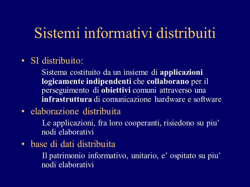 Sistemi informativi distribuiti SI distribuito: Sistema costituito da un insieme di applicazioni logicamente indipendenti che collaborano per il perse