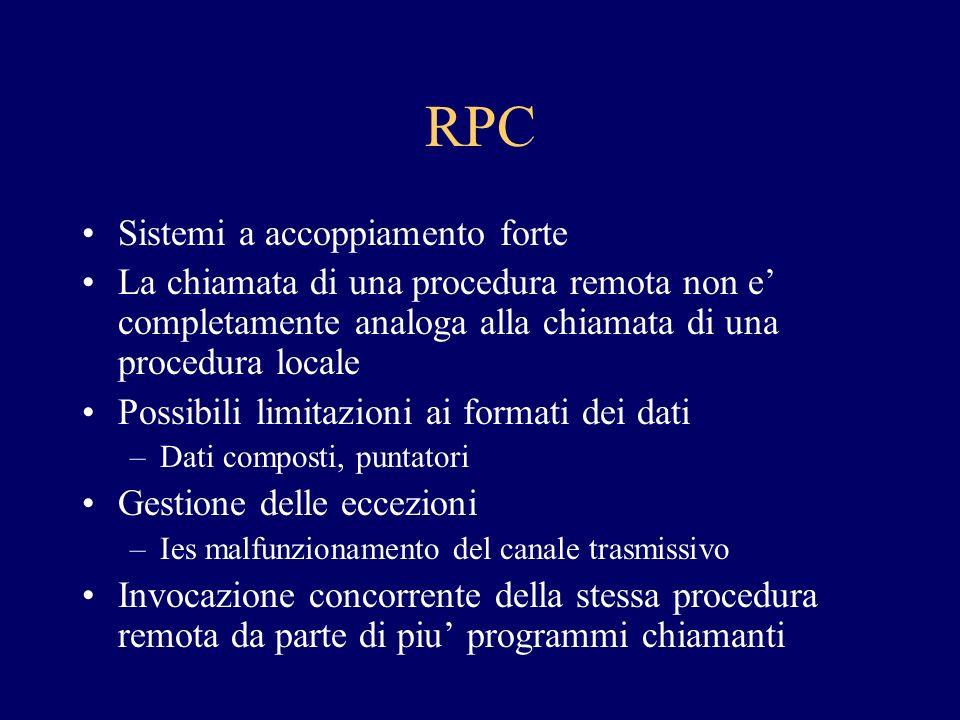 RPC Sistemi a accoppiamento forte La chiamata di una procedura remota non e completamente analoga alla chiamata di una procedura locale Possibili limi