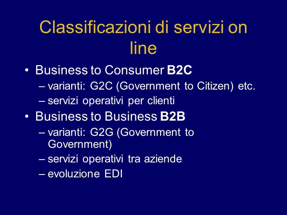 Classificazioni di servizi on line Business to Consumer B2C –varianti: G2C (Government to Citizen) etc. –servizi operativi per clienti Business to Bus