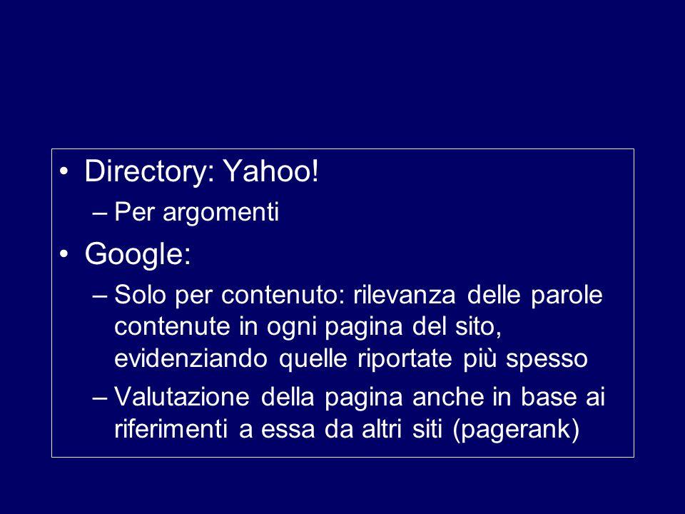 Directory: Yahoo! –Per argomenti Google: –Solo per contenuto: rilevanza delle parole contenute in ogni pagina del sito, evidenziando quelle riportate