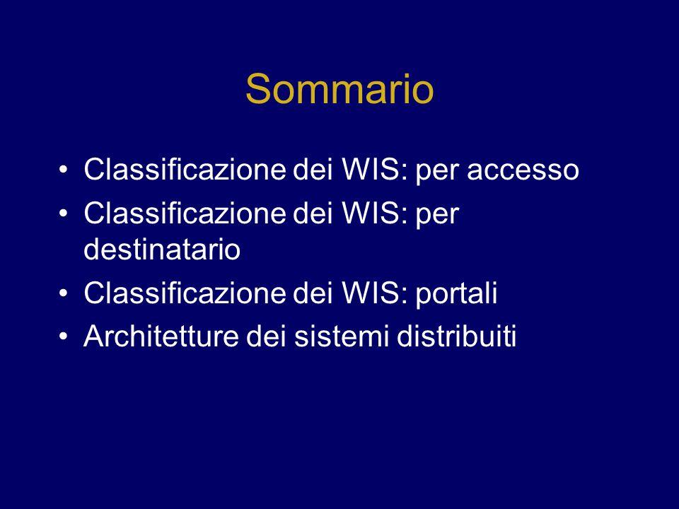Sommario Classificazione dei WIS: per accesso Classificazione dei WIS: per destinatario Classificazione dei WIS: portali Architetture dei sistemi dist