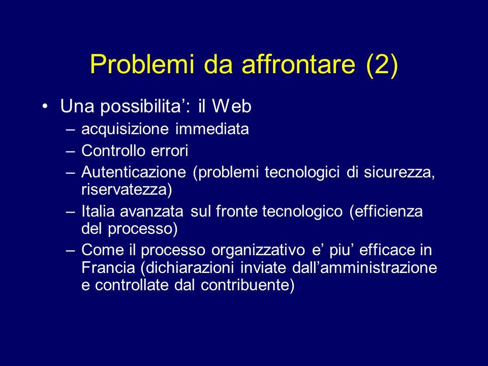 Problemi da affrontare (2) Una possibilita: il Web –acquisizione immediata –Controllo errori –Autenticazione (problemi tecnologici di sicurezza, riser