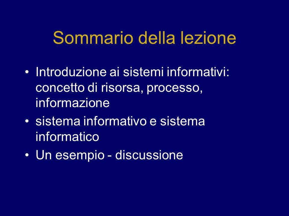 Sommario della lezione Introduzione ai sistemi informativi: concetto di risorsa, processo, informazione sistema informativo e sistema informatico Un e