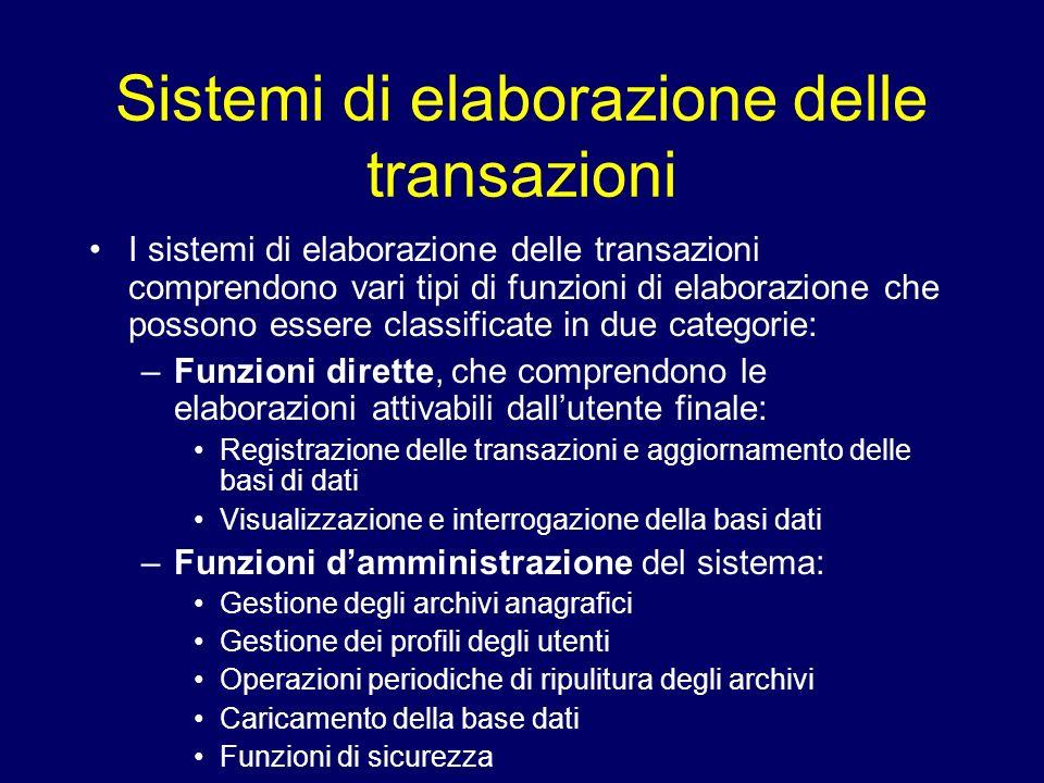 Sistemi di elaborazione delle transazioni I sistemi di elaborazione delle transazioni comprendono vari tipi di funzioni di elaborazione che possono es