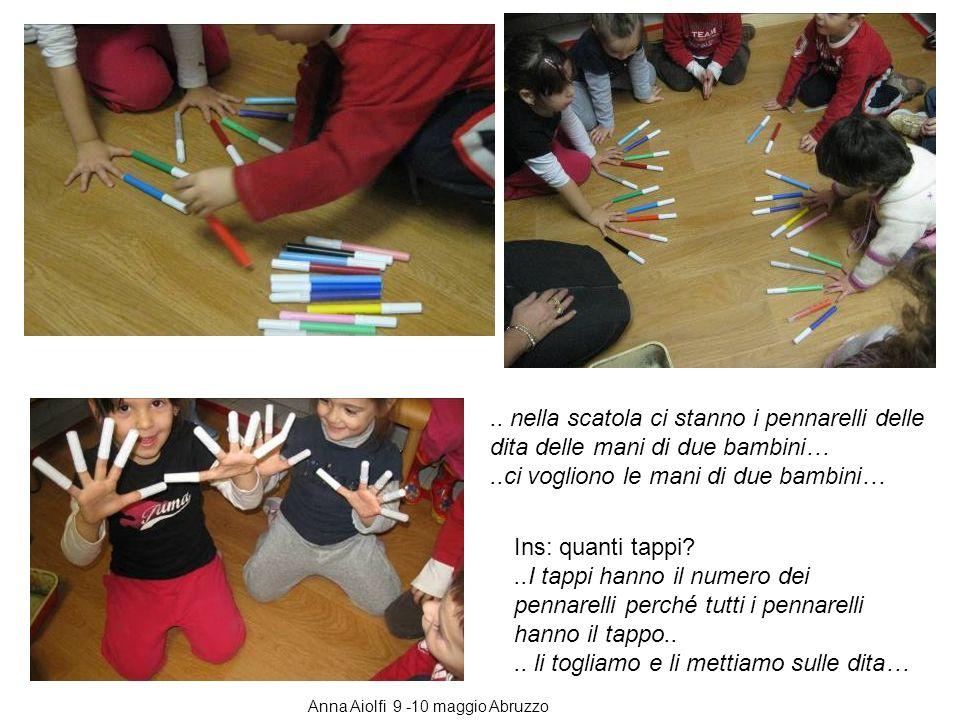 .. nella scatola ci stanno i pennarelli delle dita delle mani di due bambini…..ci vogliono le mani di due bambini… Ins: quanti tappi?..I tappi hanno i