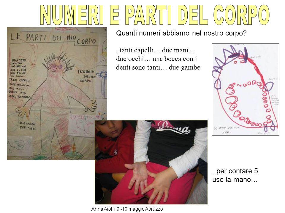 Quanti numeri abbiamo nel nostro corpo?..tanti capelli… due mani… due occhi… una bocca con i denti sono tanti… due gambe..per contare 5 uso la mano… A
