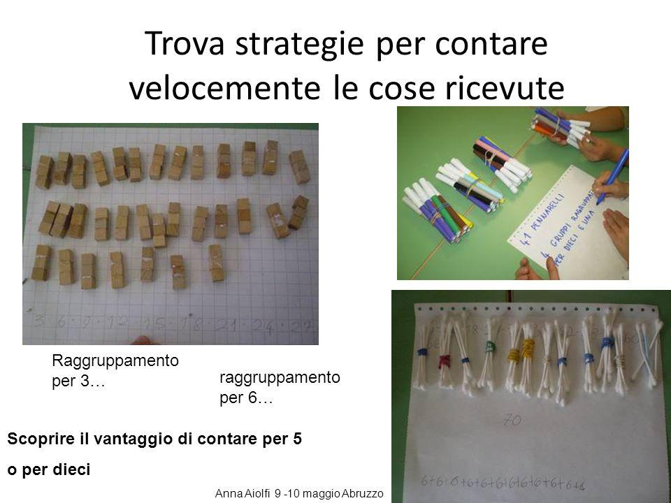 Trova strategie per contare velocemente le cose ricevute Scoprire il vantaggio di contare per 5 o per dieci Raggruppamento per 3… raggruppamento per 6