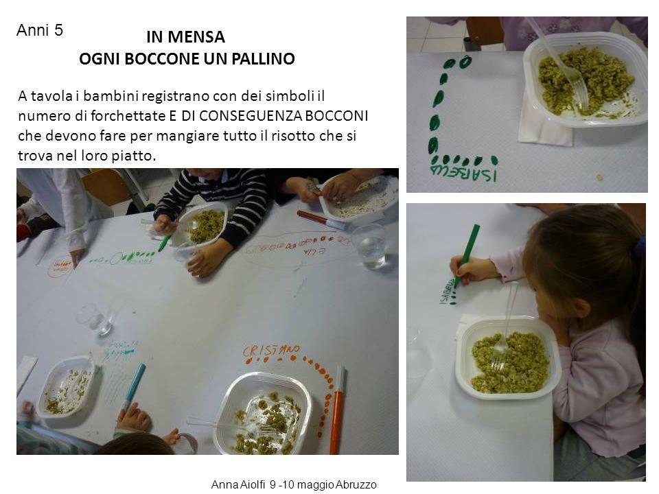 A tavola i bambini registrano con dei simboli il numero di forchettate E DI CONSEGUENZA BOCCONI che devono fare per mangiare tutto il risotto che si t