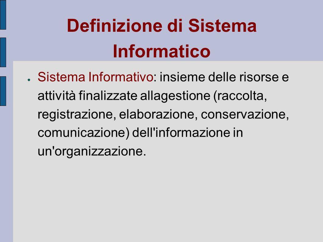 Definizione di Sistema Informatico Sistema Informativo: insieme delle risorse e attività finalizzate allagestione (raccolta, registrazione, elaborazio
