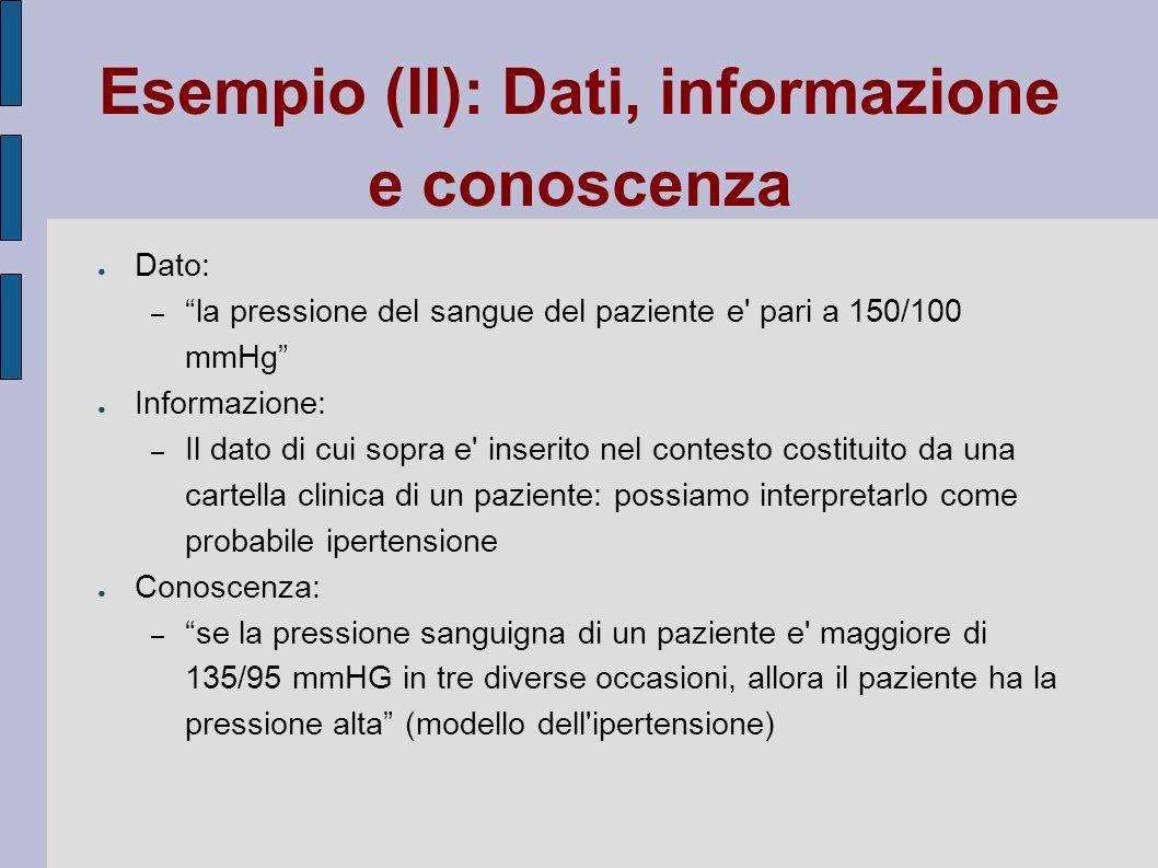 Esempio (II): Dati, informazione e conoscenza Dato: – la pressione del sangue del paziente e' pari a 150/100 mmHg Informazione: – Il dato di cui sopra